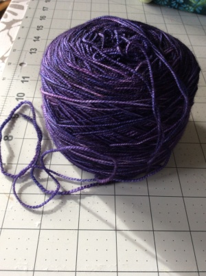 I dyed this purple to knit into socks.