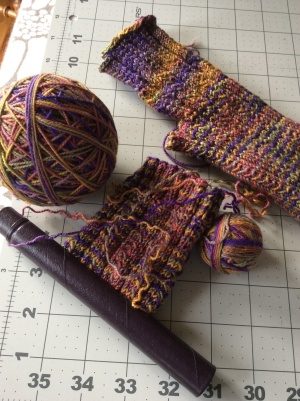 Nearly finished fingerless gloves - I'm taking these to get them done and because I'll need the needles for the sock knitting.