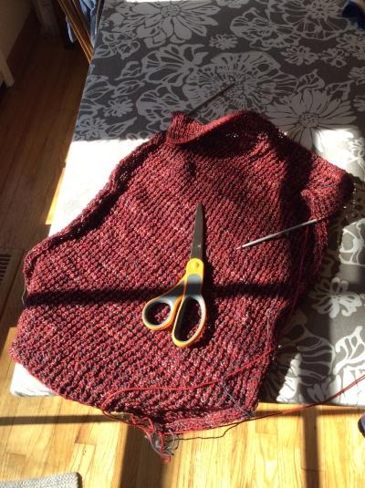 Color block mistake rib scarf in progress