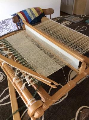 Linen curtain panel on loom