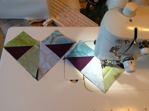 For this block I still used the no waste method, but mixed up the background colors so all four wouldn't be the same.