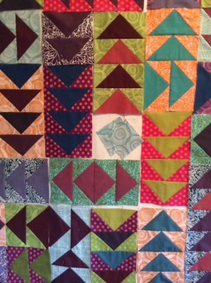 I auditioned colors for the remaining spots to make sure I wasn't getting the same fabrics too close together.