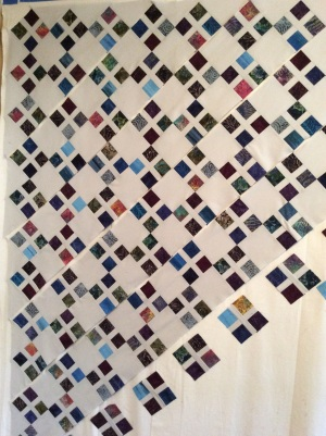 A's quilt in progress - assembling rows