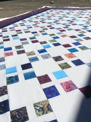 A's quilt - pin basted