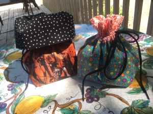 Finished drawstring bags