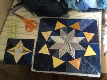 Night sky stars quilt in progress