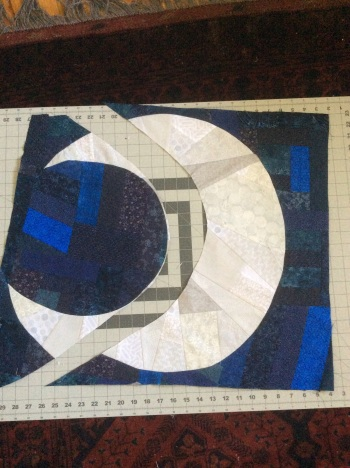 Night Sky Stars quilt - fixing the moon