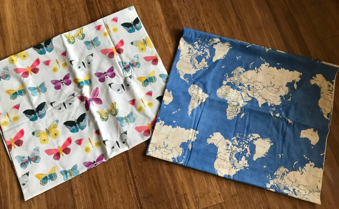 fabric with butterflies and maps